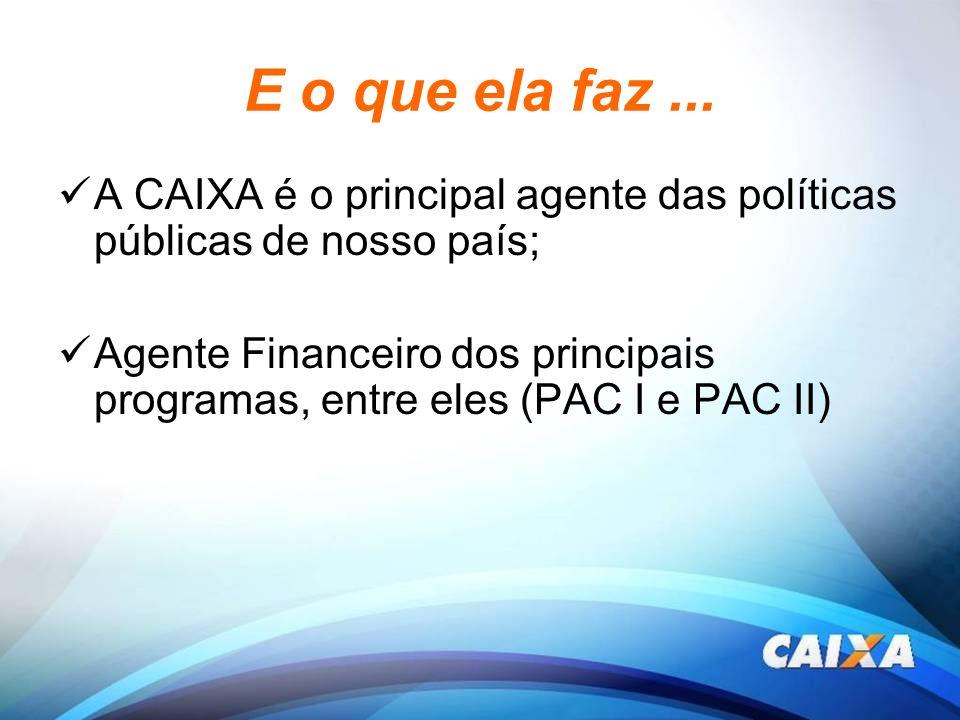 E o que ela faz ... A CAIXA é o principal agente das políticas públicas de nosso país;