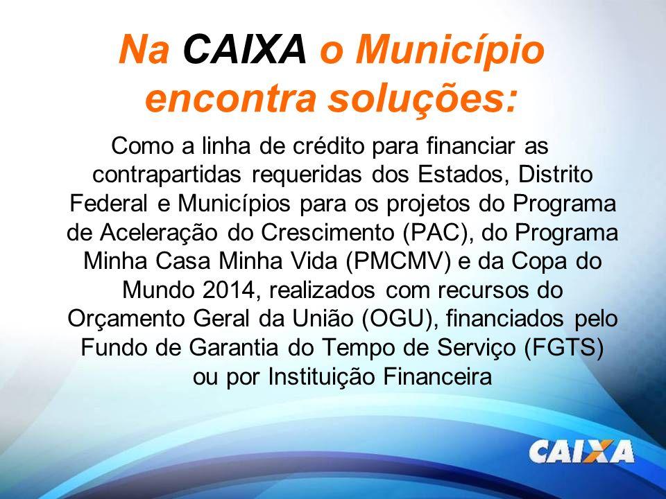 Na CAIXA o Município encontra soluções: