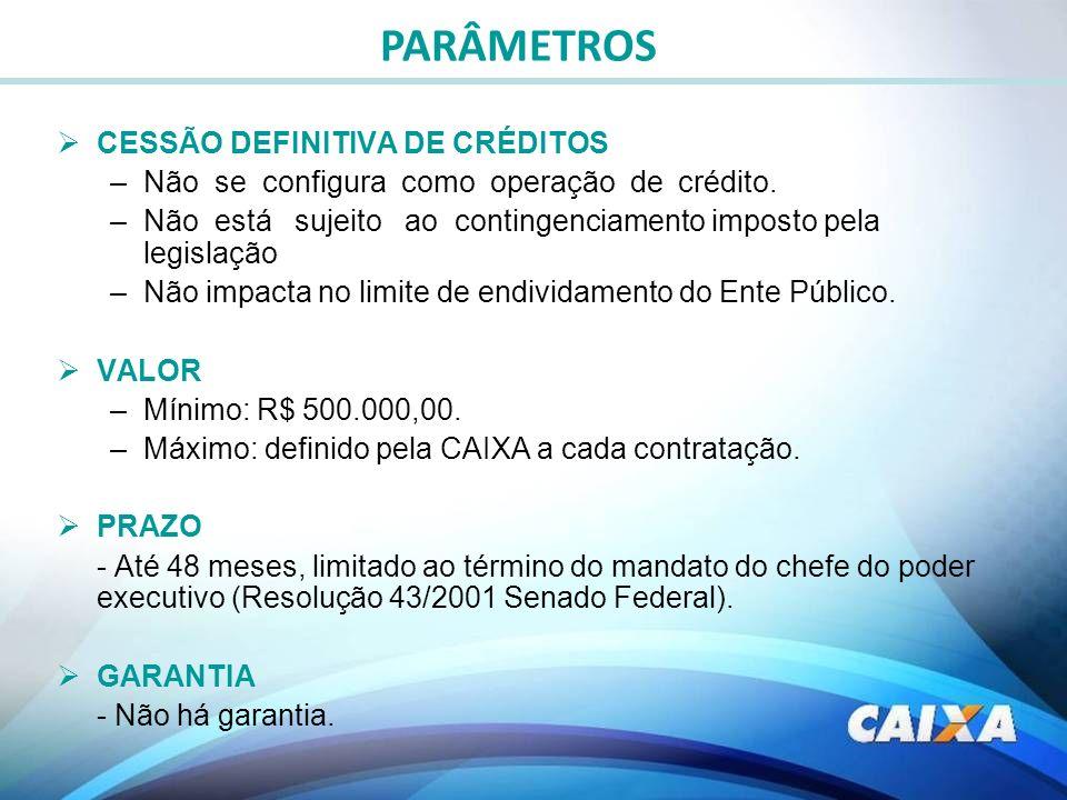 PARÂMETROS CESSÃO DEFINITIVA DE CRÉDITOS