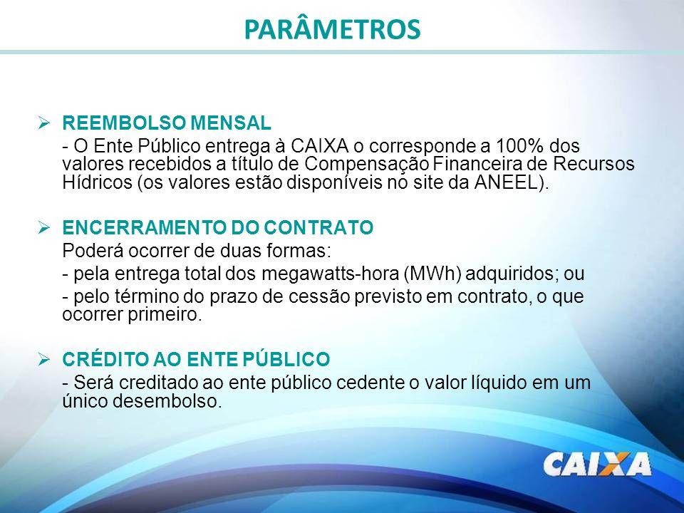 PARÂMETROS REEMBOLSO MENSAL