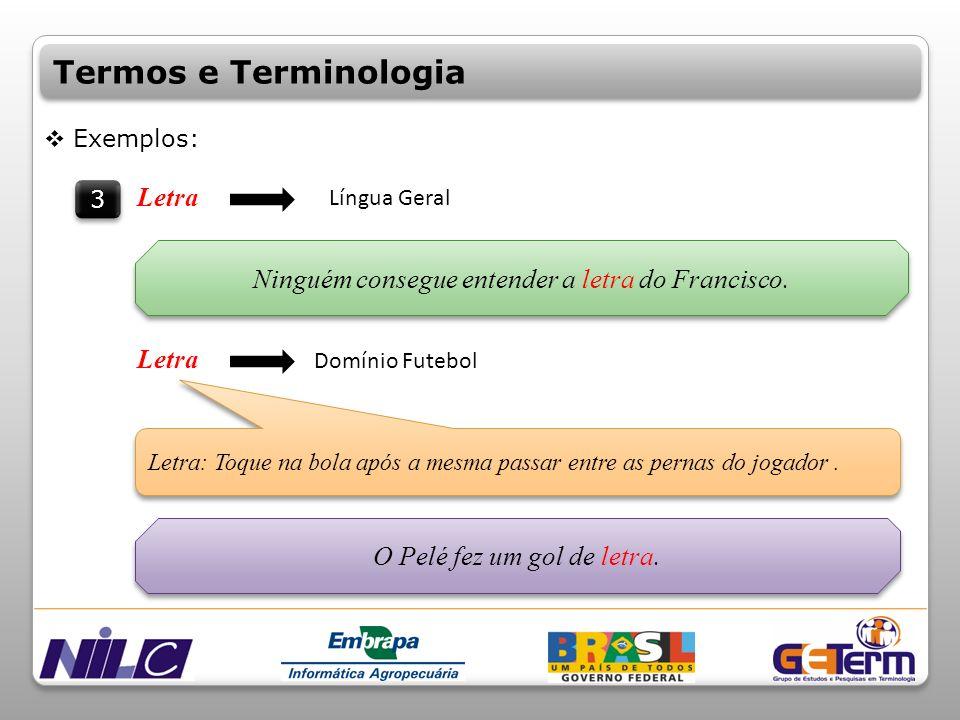 Termos e Terminologia Letra