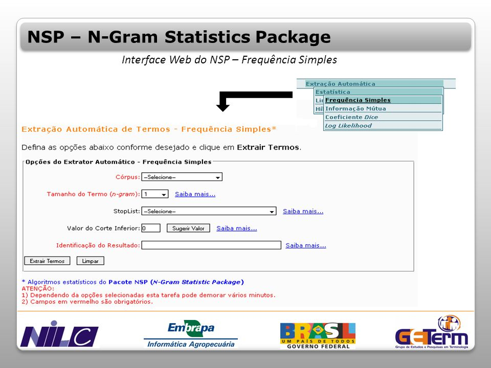 Interface Web do NSP – Frequência Simples