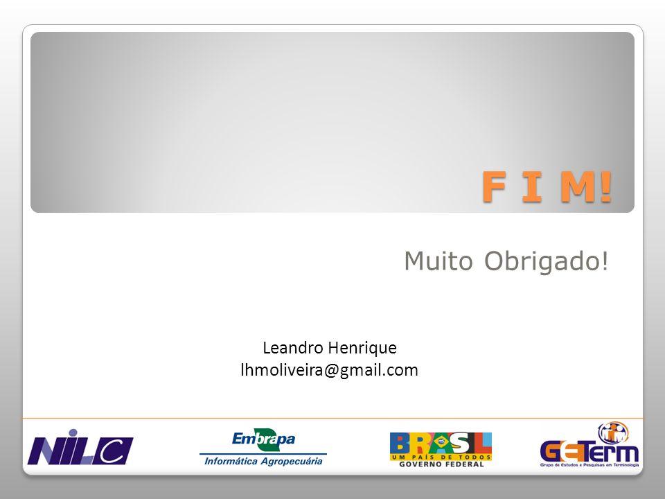 F I M! Muito Obrigado! Leandro Henrique lhmoliveira@gmail.com