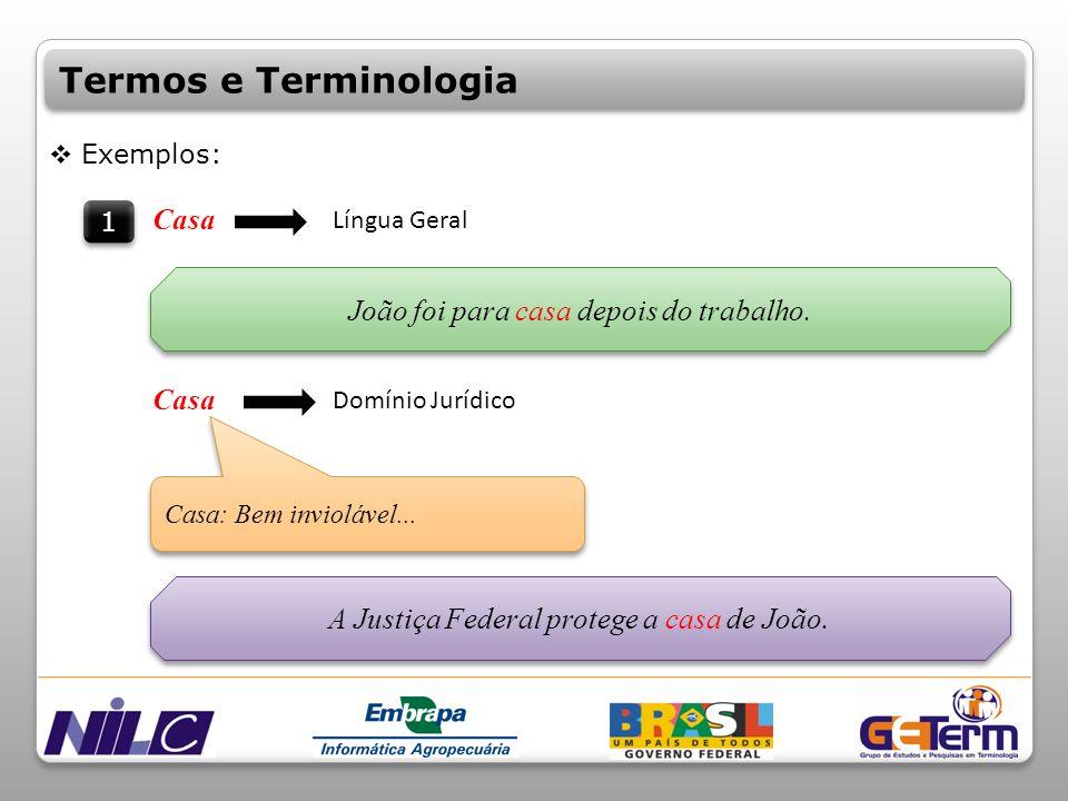 Termos e Terminologia Casa João foi para casa depois do trabalho. Casa