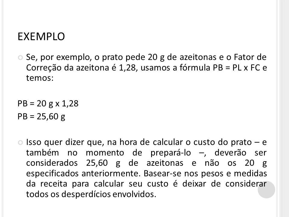 EXEMPLO Se, por exemplo, o prato pede 20 g de azeitonas e o Fator de Correção da azeitona é 1,28, usamos a fórmula PB = PL x FC e temos: