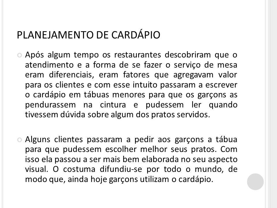 PLANEJAMENTO DE CARDÁPIO