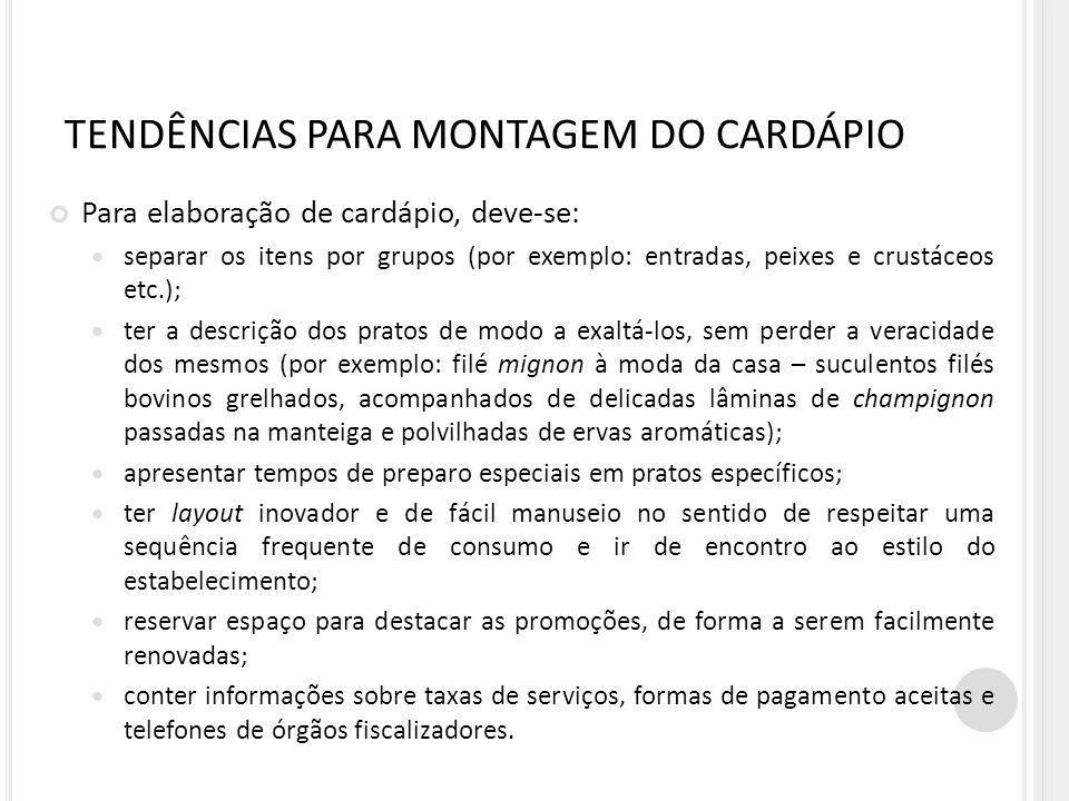 TENDÊNCIAS PARA MONTAGEM DO CARDÁPIO