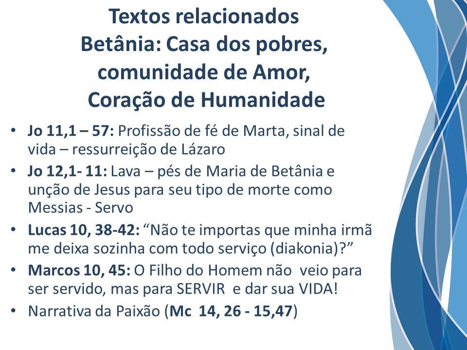 Textos relacionados Betânia: Casa dos pobres, comunidade de Amor, Coração de Humanidade