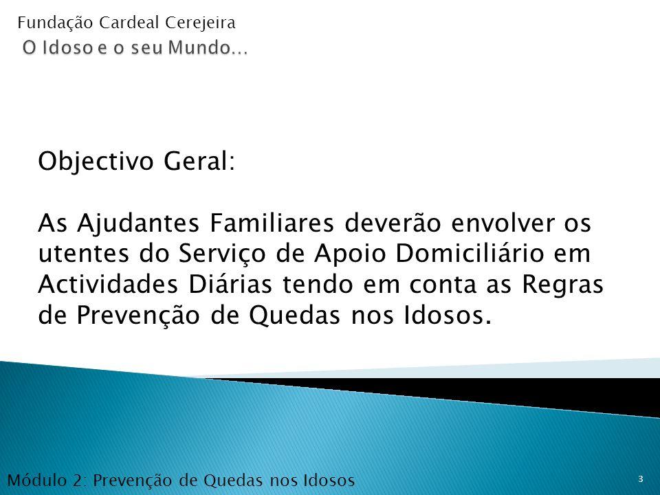 Prevenção de Quedas Fundação Cardeal Cerejeira. O Idoso e o seu Mundo… Objectivo Geral: