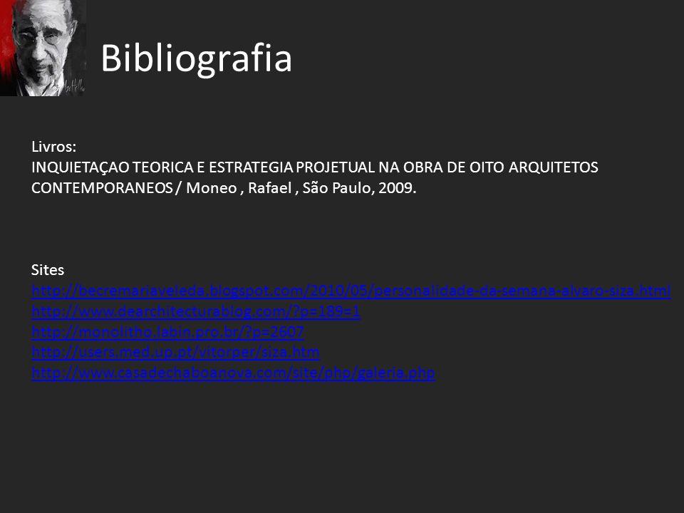 Bibliografia Livros: INQUIETAÇAO TEORICA E ESTRATEGIA PROJETUAL NA OBRA DE OITO ARQUITETOS. CONTEMPORANEOS / Moneo , Rafael , São Paulo, 2009.