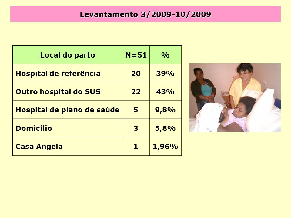 Levantamento 3/2009-10/2009 Local do parto N=51 %