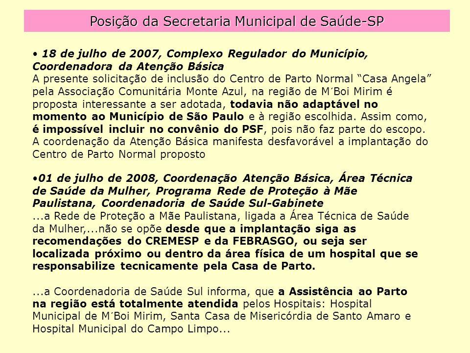 Posição da Secretaria Municipal de Saúde-SP