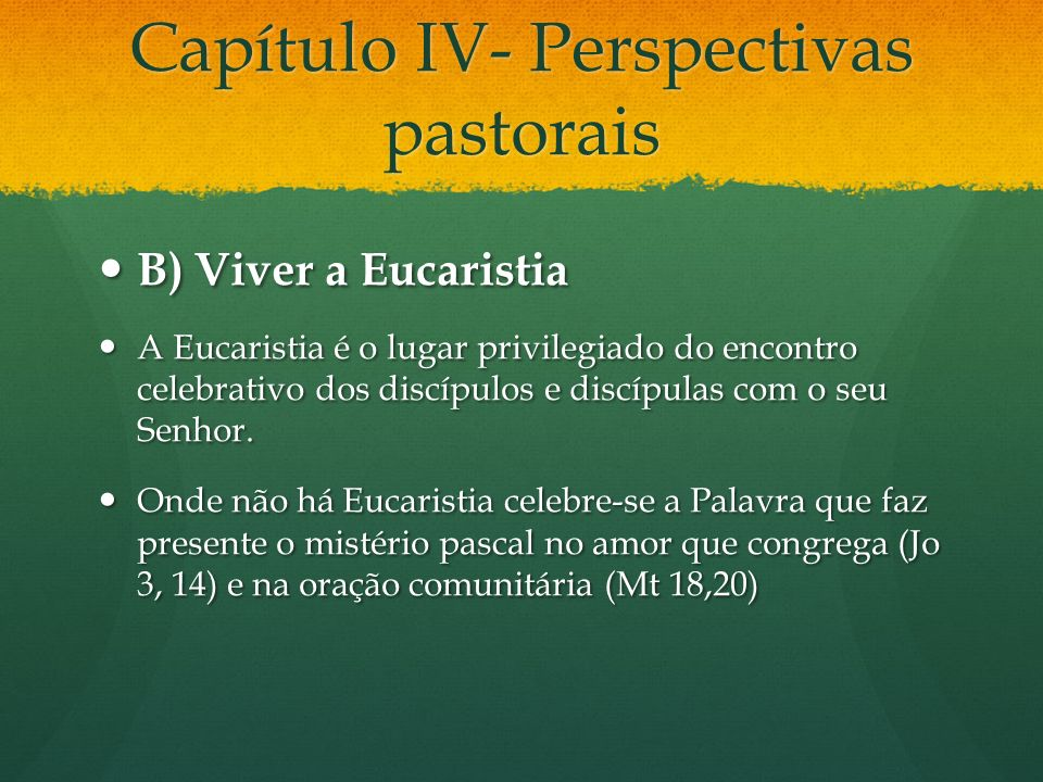 Capítulo IV- Perspectivas pastorais