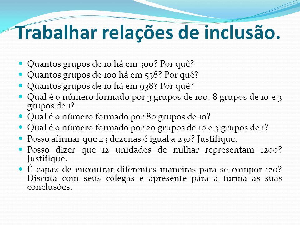 Trabalhar relações de inclusão.