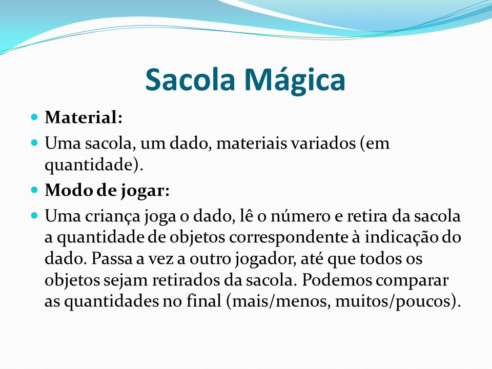 Sacola Mágica Material: