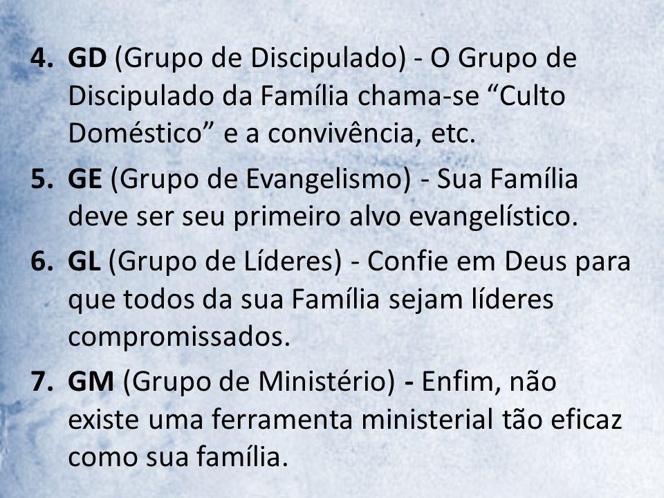 GD (Grupo de Discipulado) - O Grupo de Discipulado da Família chama-se Culto Doméstico e a convivência, etc.
