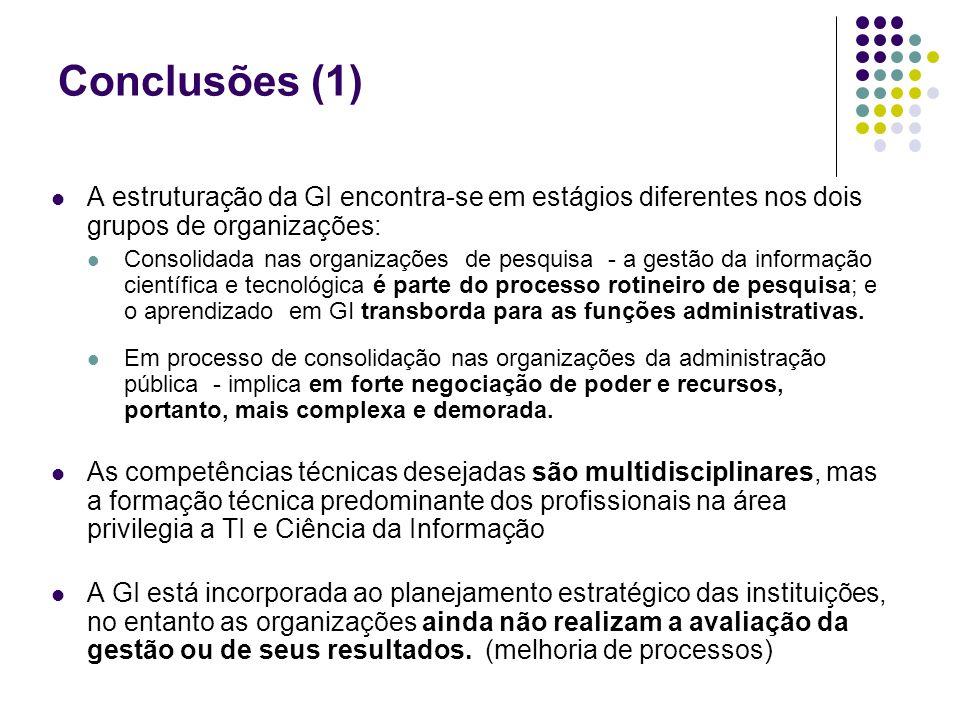Conclusões (1) A estruturação da GI encontra-se em estágios diferentes nos dois grupos de organizações: