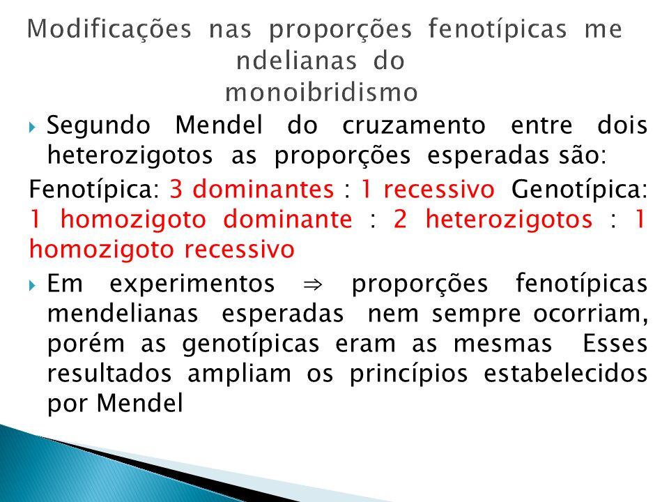 Modificações nas proporções fenotípicas mendelianas do monoibridismo