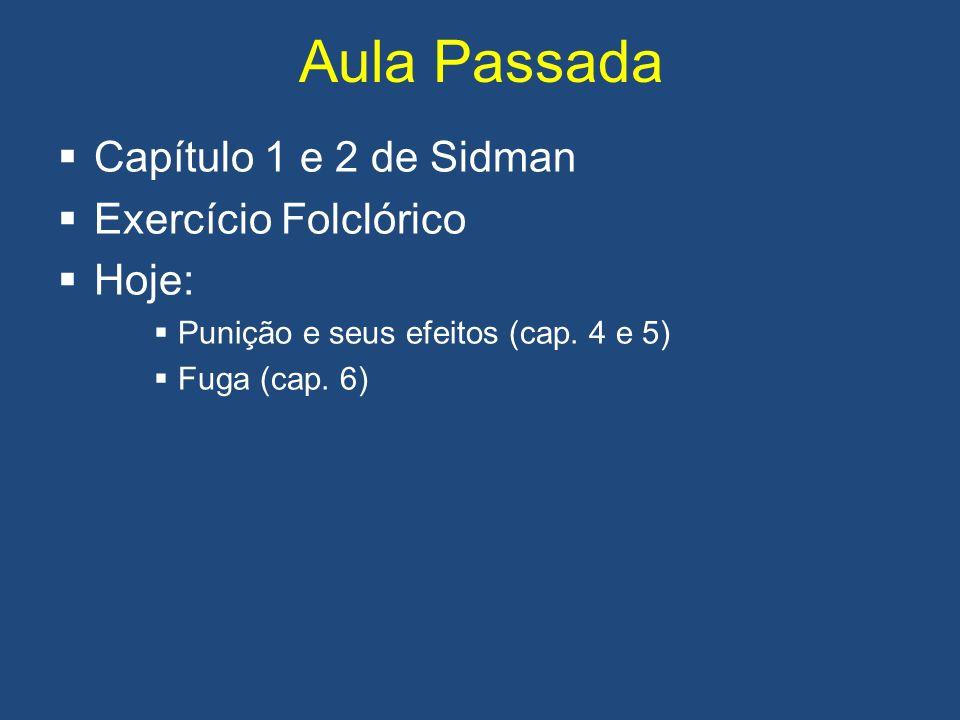 Aula Passada Capítulo 1 e 2 de Sidman Exercício Folclórico Hoje: