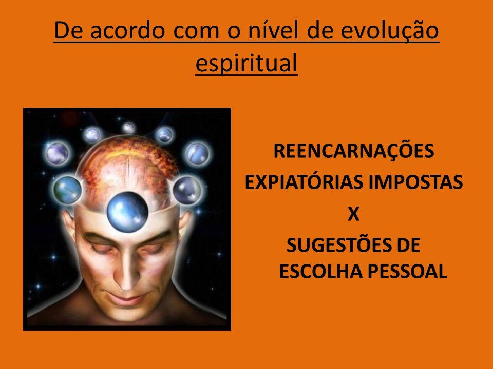 De acordo com o nível de evolução espiritual