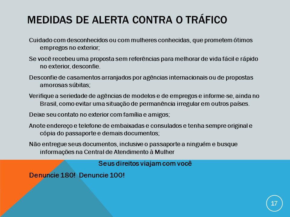 Medidas de alerta contra o tráfico