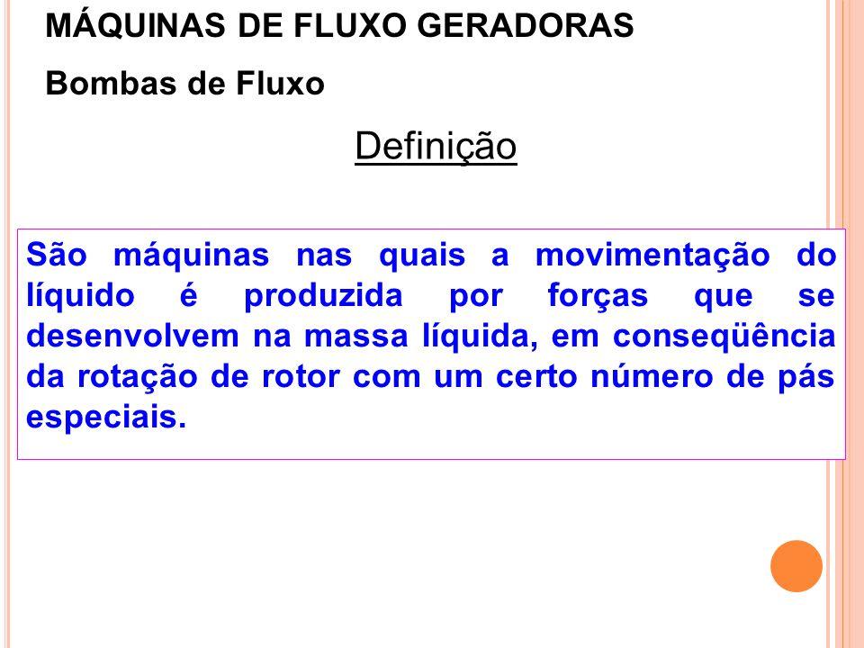 Definição MÁQUINAS DE FLUXO GERADORAS Bombas de Fluxo