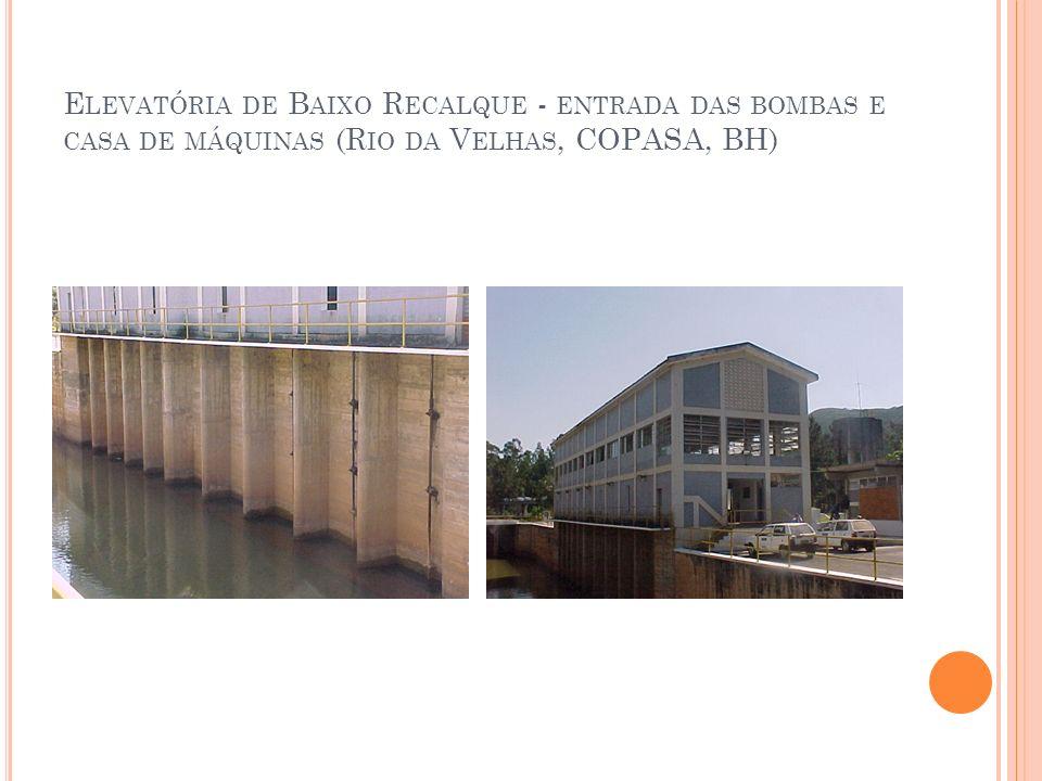Elevatória de Baixo Recalque - entrada das bombas e casa de máquinas (Rio da Velhas, COPASA, BH)