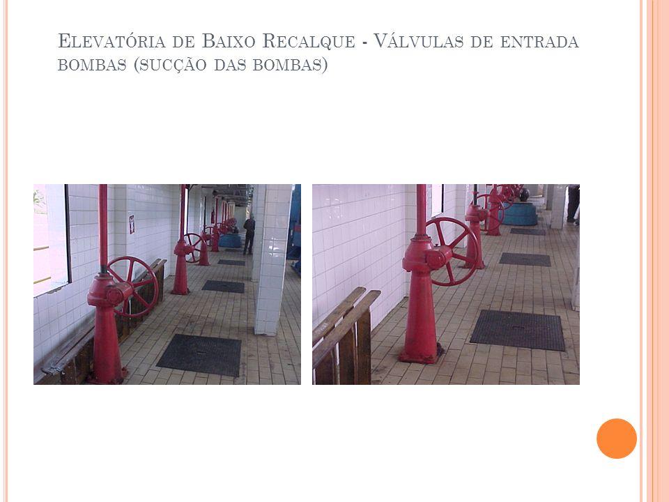 Elevatória de Baixo Recalque - Válvulas de entrada bombas (sucção das bombas)