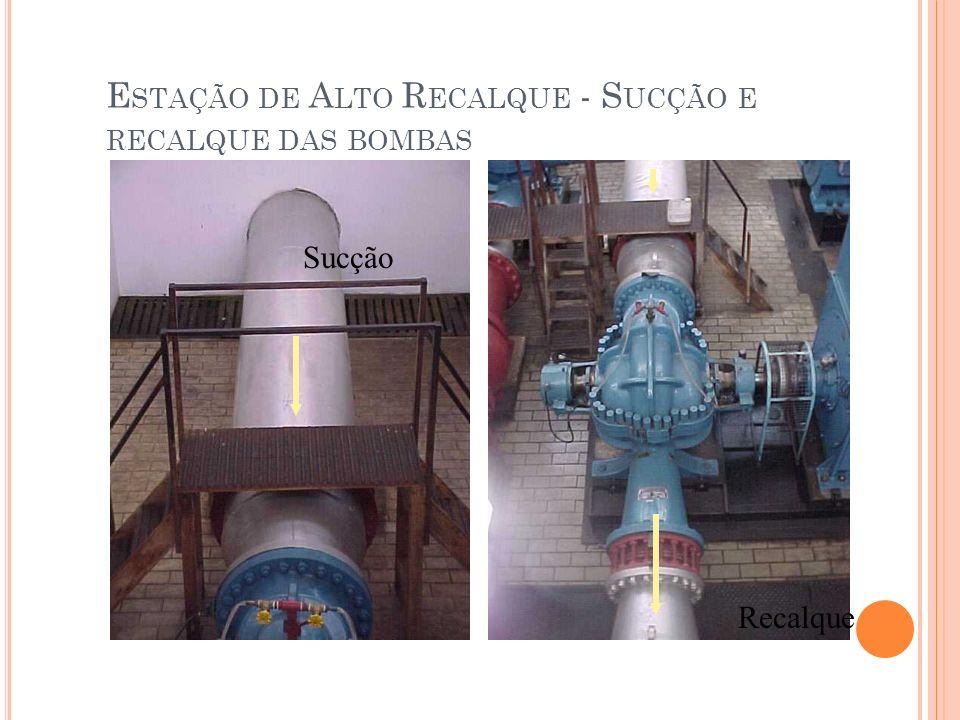 Estação de Alto Recalque - Sucção e recalque das bombas
