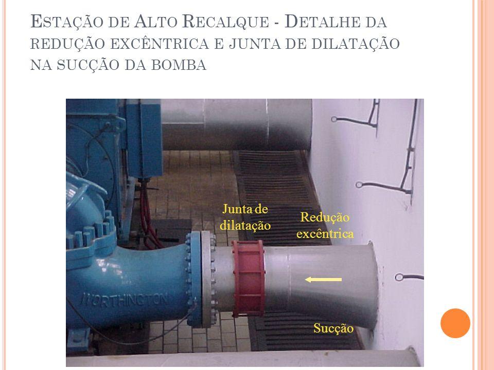 Estação de Alto Recalque - Detalhe da redução excêntrica e junta de dilatação na sucção da bomba