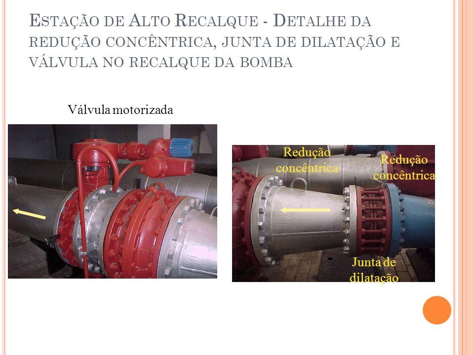 Estação de Alto Recalque - Detalhe da redução concêntrica, junta de dilatação e válvula no recalque da bomba