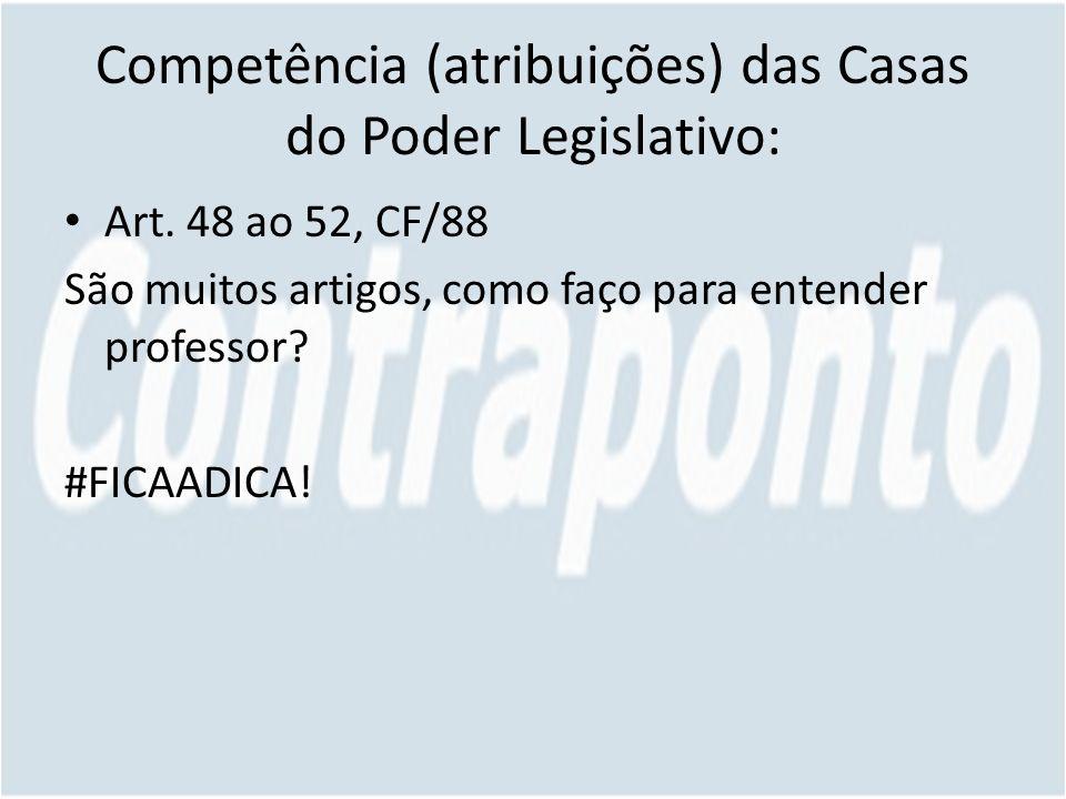 Competência (atribuições) das Casas do Poder Legislativo: