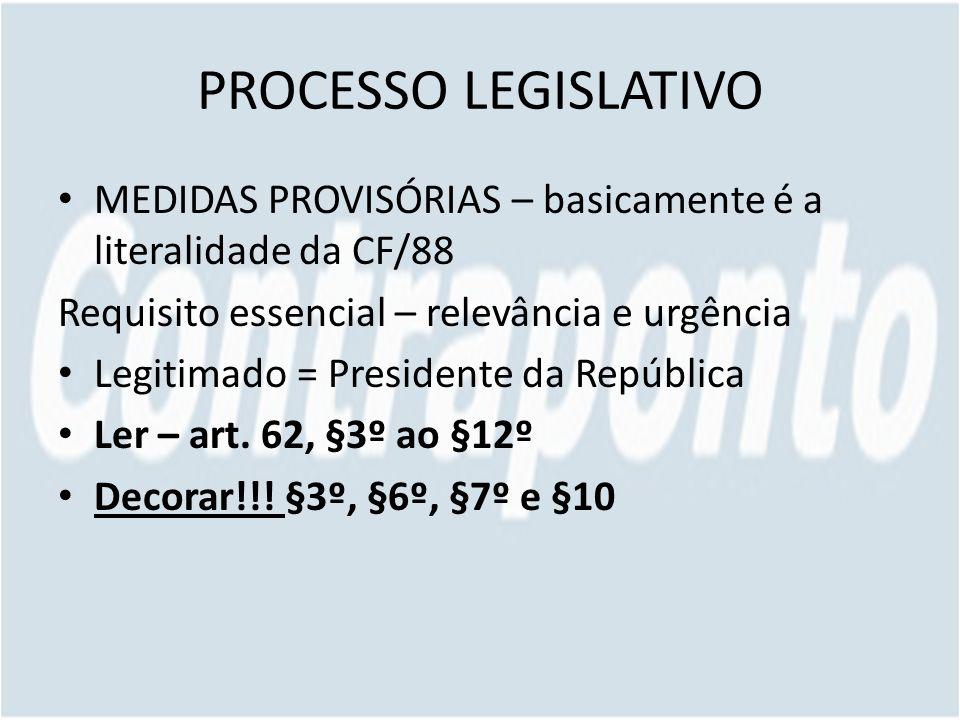 PROCESSO LEGISLATIVO MEDIDAS PROVISÓRIAS – basicamente é a literalidade da CF/88. Requisito essencial – relevância e urgência.
