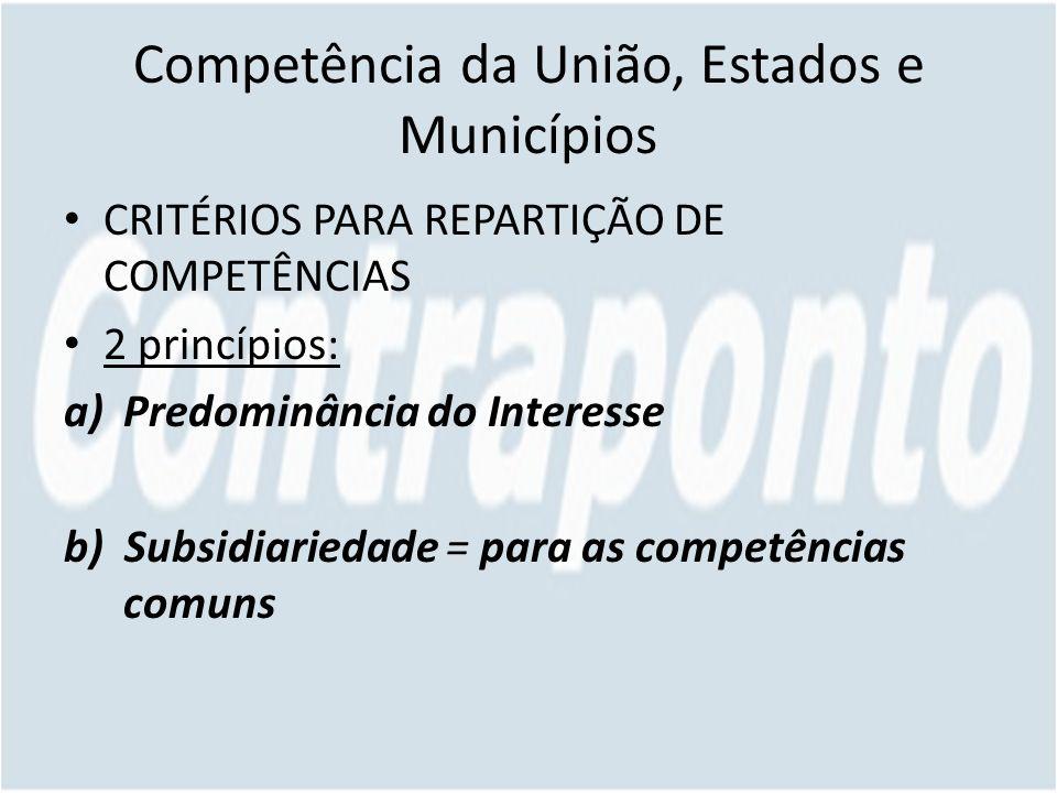 Competência da União, Estados e Municípios