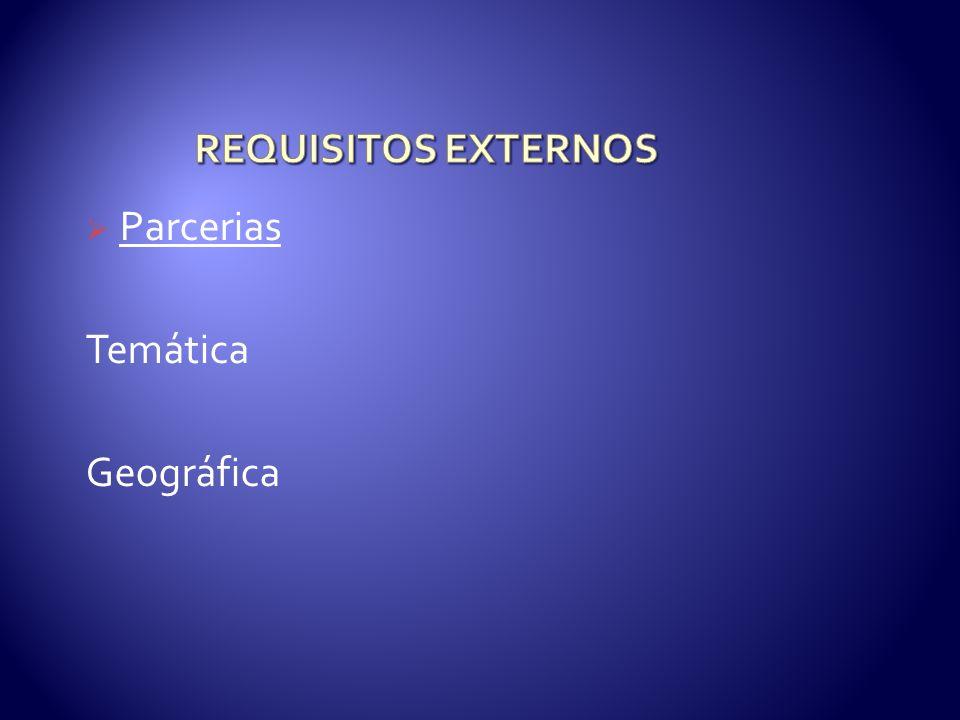REQUISITOS EXTERNOS Parcerias Temática Geográfica