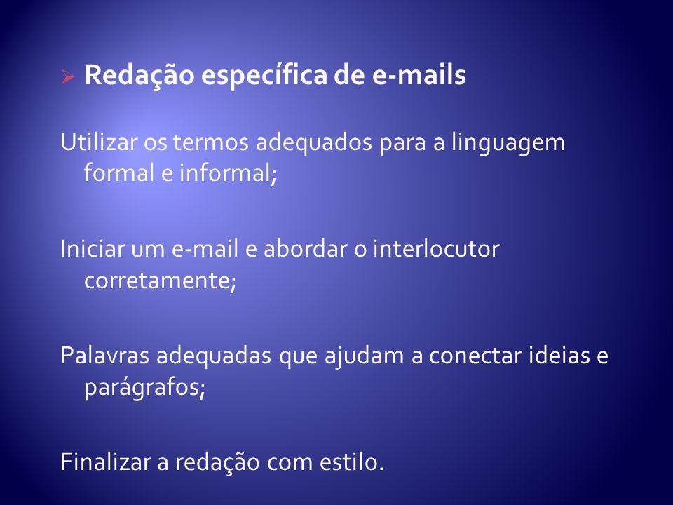 Redação específica de e-mails