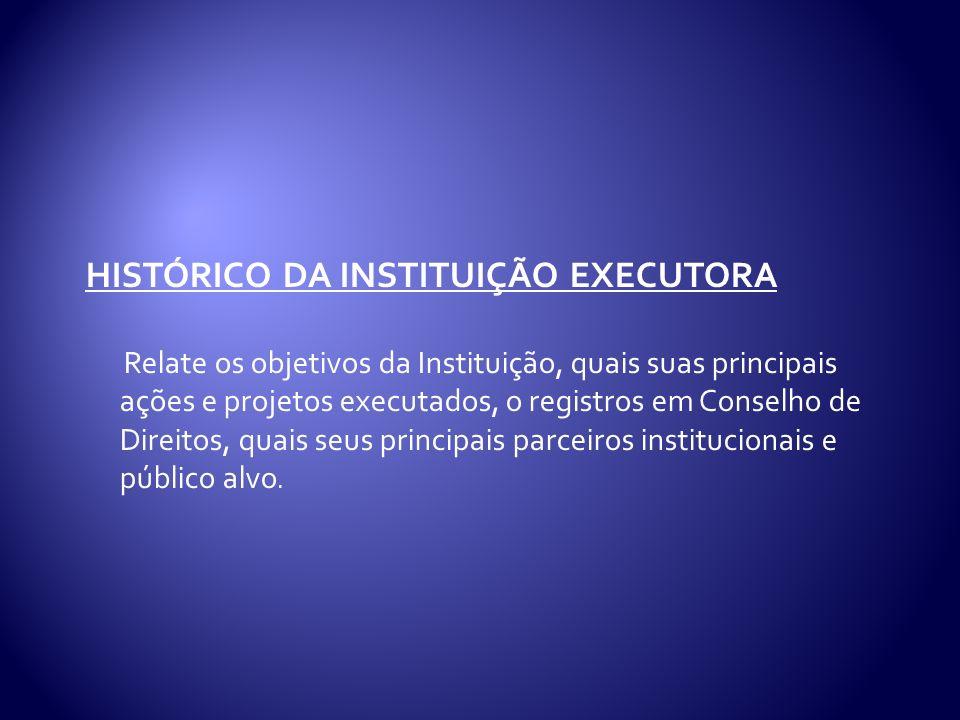 histórico da instituição EXECUTORA
