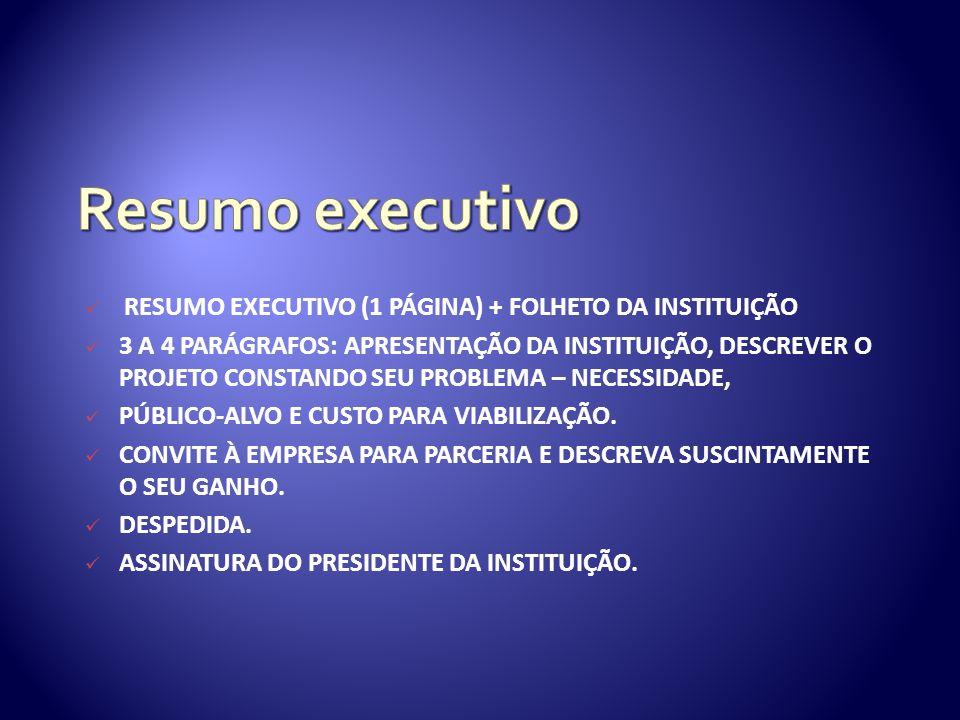 Resumo executivo resumo executivo (1 PÁGINA) + folheto da instituição