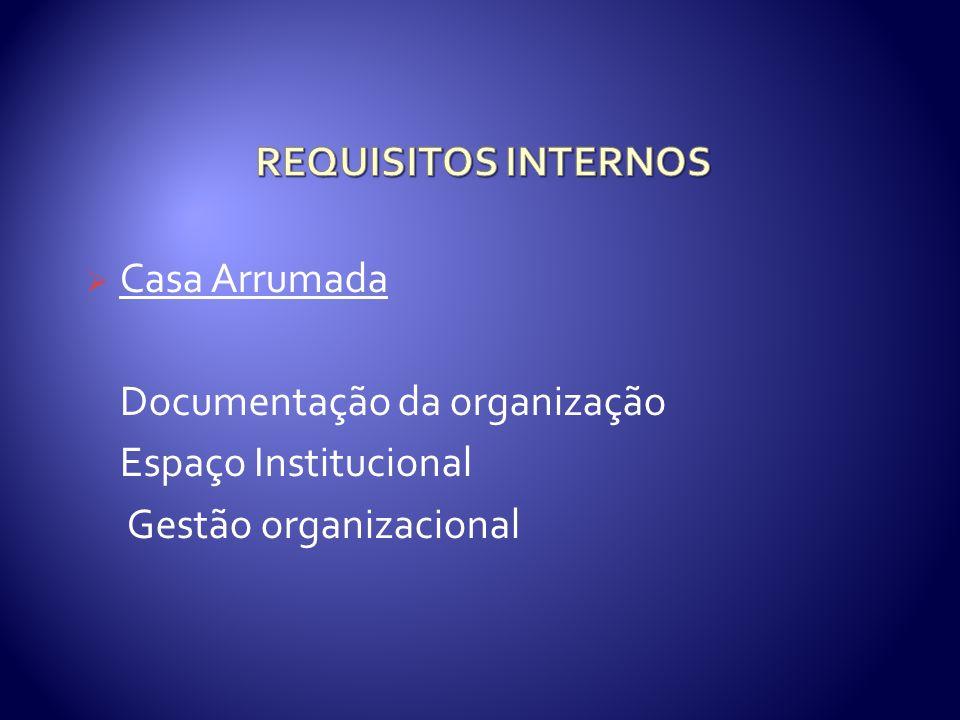 REQUISITOS INTERNOS Casa Arrumada. Documentação da organização.