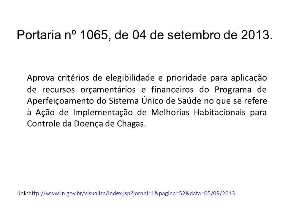 Portaria nº 1065, de 04 de setembro de 2013.