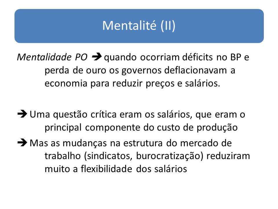 Mentalité (II) Mentalidade PO  quando ocorriam déficits no BP e perda de ouro os governos deflacionavam a economia para reduzir preços e salários.