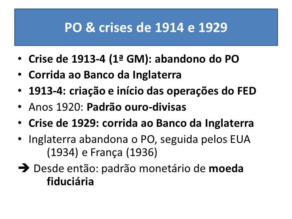PO & crises de 1914 e 1929 Crise de 1913-4 (1ª GM): abandono do PO
