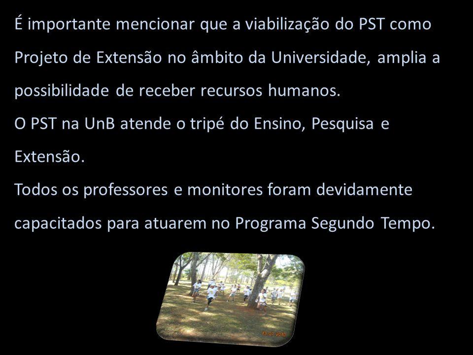 É importante mencionar que a viabilização do PST como Projeto de Extensão no âmbito da Universidade, amplia a possibilidade de receber recursos humanos.