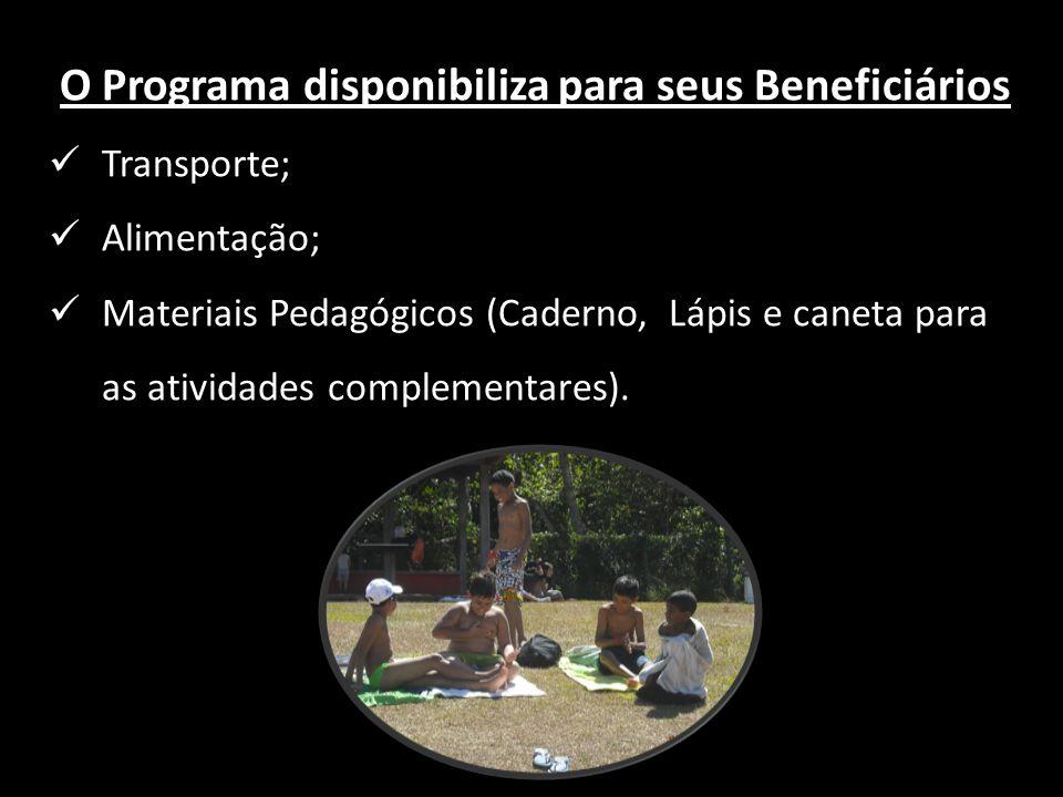 O Programa disponibiliza para seus Beneficiários
