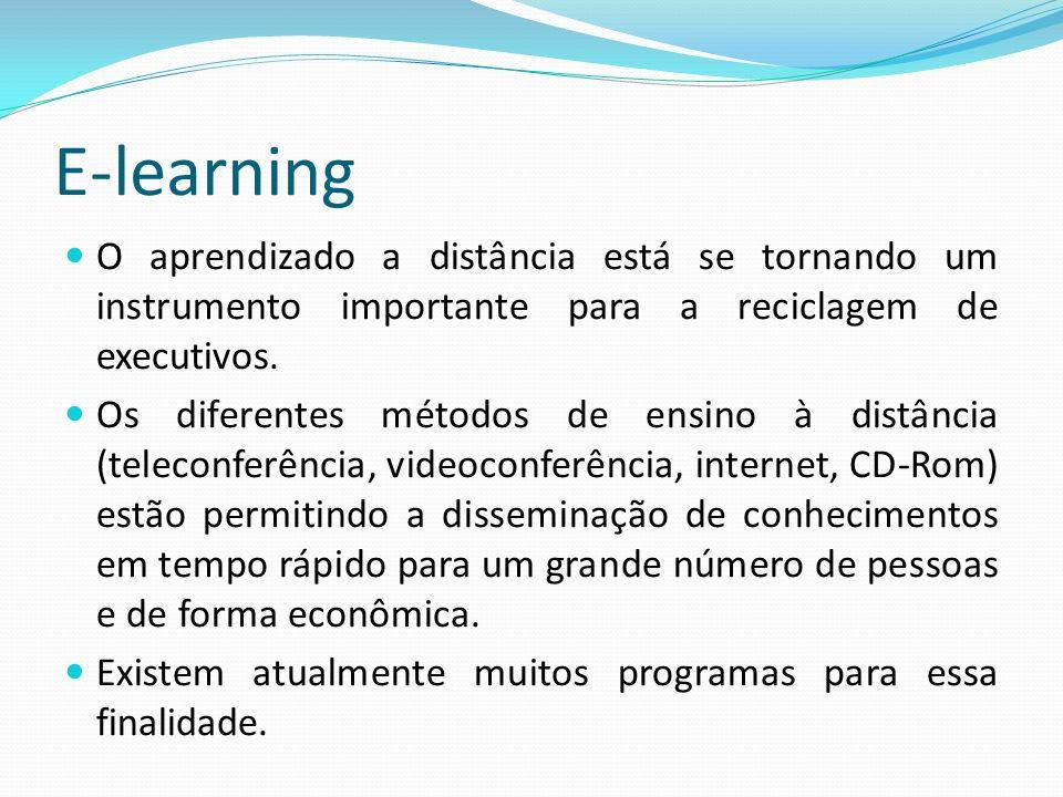 E-learning O aprendizado a distância está se tornando um instrumento importante para a reciclagem de executivos.