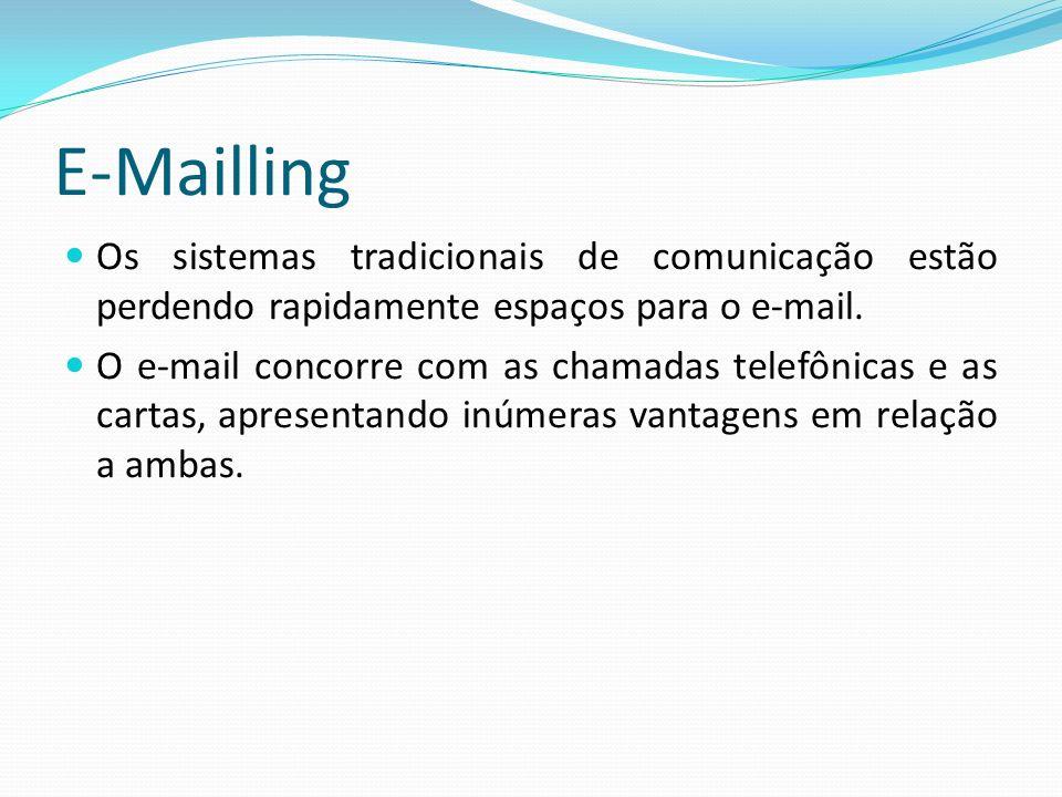 E-Mailling Os sistemas tradicionais de comunicação estão perdendo rapidamente espaços para o e-mail.