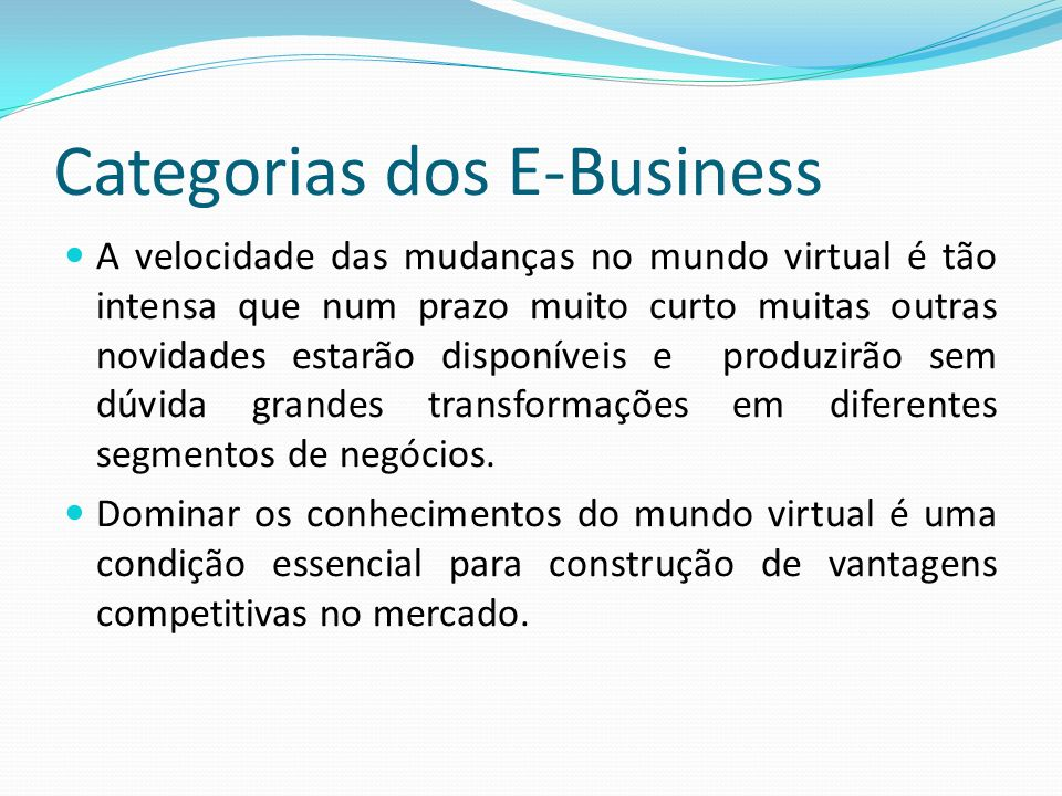 Categorias dos E-Business