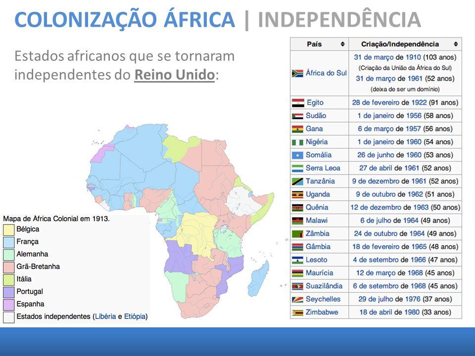 COLONIZAÇÃO ÁFRICA | INDEPENDÊNCIA