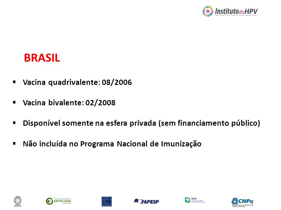 BRASIL Vacina quadrivalente: 08/2006 Vacina bivalente: 02/2008