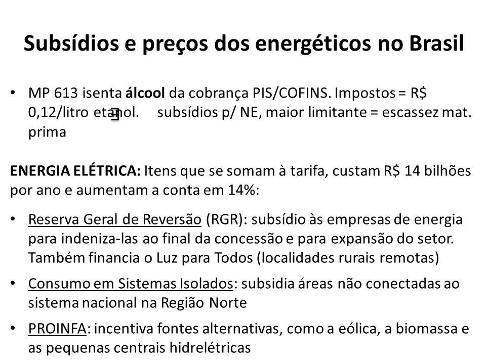 Subsídios e preços dos energéticos no Brasil